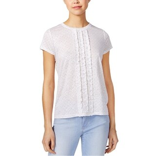 Maison Jules Ruffled Cotton T Shirt Bright White Combo - XS