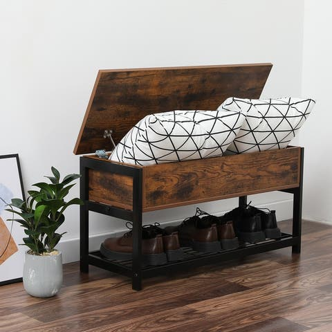 Industrial Storage Bench Entryway Lift Top Shoe Storage Bench in Dining Room, Hallway, Living Room