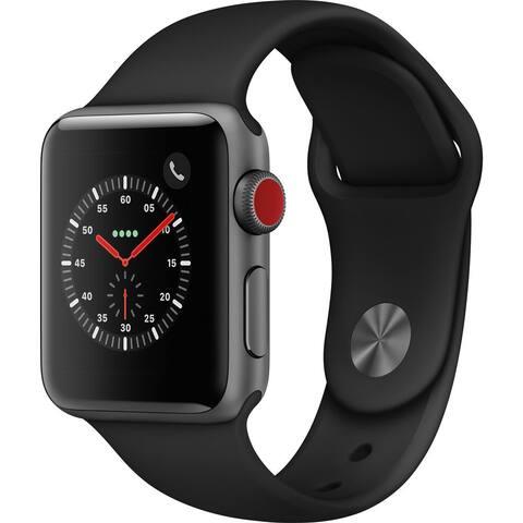 Apple Watch Series 3 38mm w/LTE Gray Case & Black Band (Refurbished)