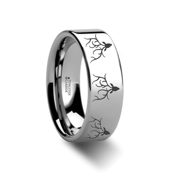 THORSTEN - Animal Track Reindeer Deer Stag Head Print Ring Engraved Flat Tungsten Ring - 10mm