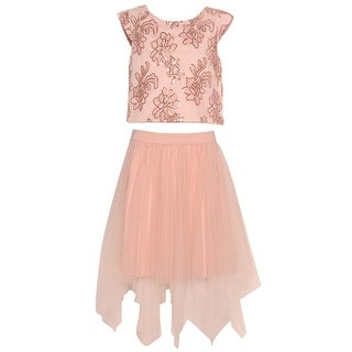 Rare Editions Girls Blush Flower Detailed Angled Hem 2 Pc Skirt Outfit