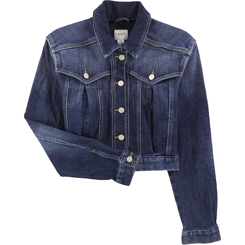 GUESS Womens Cropped Jean Jacket, Blue, X-Large