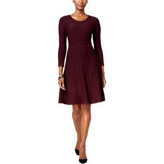 Jessica Howard Womens Sweaterdress Scoop Neck 3/4 Sleeves
