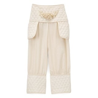 Little Girls Ivory Quilted Texture Flower Accent 2 Pockets Pants