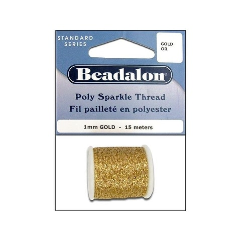 Beadalon Poly Sparkle Thread 1mm 15m Gld