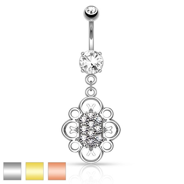 Crystal Pave Center Oval Heart Filigree Dangle Surgical Steel Navel Ring - 14GA (Sold Ind.)