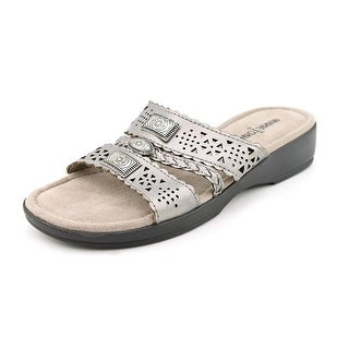 Minnetonka Gayle Women W Open Toe Leather Silver Slides Sandal