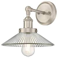 """Westinghouse 6335800 LEXINGTON Single Light 9-7/16"""" Tall Wall Sconce with Clear - Brushed nickel"""
