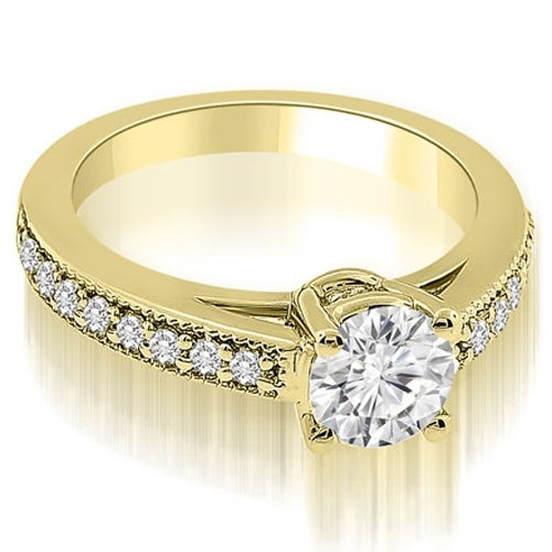0.75 cttw. 14K Yellow Gold Antique Cathedral Round Diamond Engagement Ring
