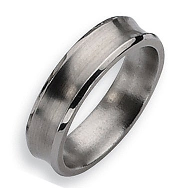 Chisel Concave Beveled Edge Brushed and Polished Titanium Ring (6.0 mm)