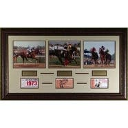 Triple Crown Winners unsigned Horse Racing 3 Photo 22x29 Leather Framed w Tickets