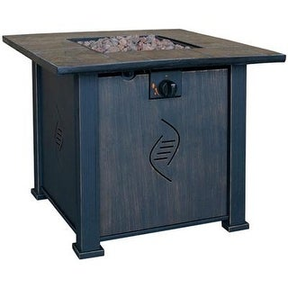 Bond Lari Outdoor Gas Fire Pit Table With Antique Wooden Finish
