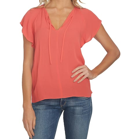 1.STATE Women's Small Neck Tie Flutter Sleeve Blouse