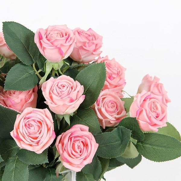 """FloralGoods Real Touch 2 Rose Bloom Short Stem in Light Pink 15"""" Tall"""