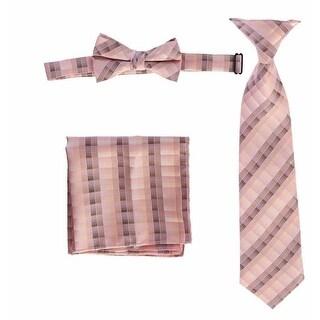 Boys Pink Plaid Striped Tie Bow Tie Pocket Square 3 Pc Accessory Set