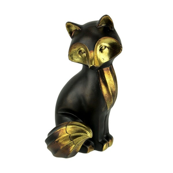 Black and Antique Gold Sitting Fox Table Statue - 9.5 X 5 X 4.5 inches