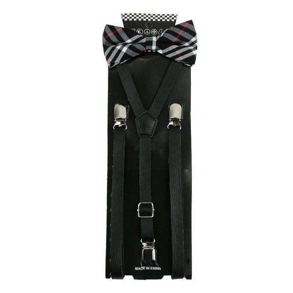 CTM® Men's Black Plaid Bow Tie with Black Faux Leather Suspender Set - One size