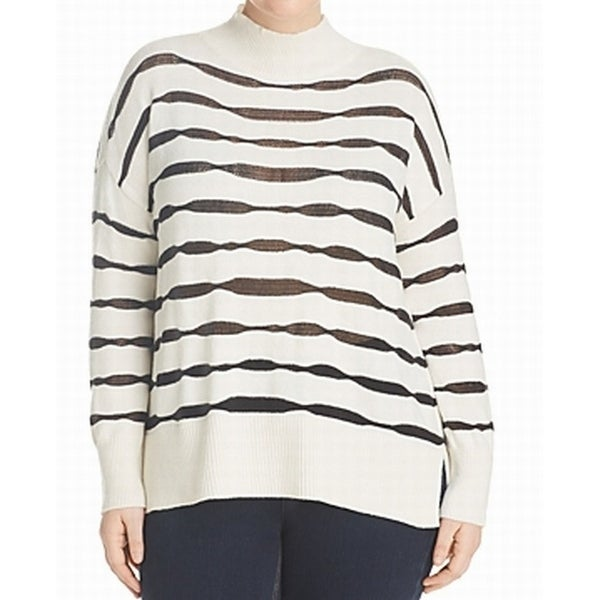 7c00ca5fc30 Shop Two by Vince Camuto NEW White Women 3X Plus Striped Mock Neck Sweater  - On Sale - Free Shipping On Orders Over  45 - Overstock.com - 21385466