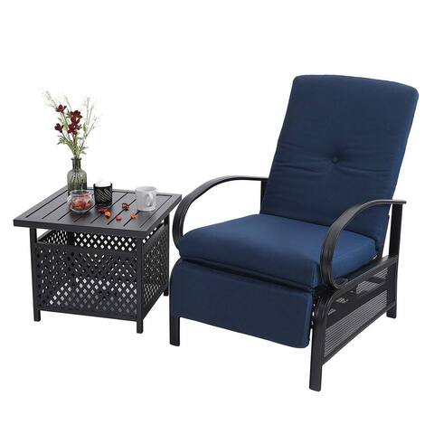 Havenside Home Claribelle 2-piece Adjustable Recliner Chair and Side Table Set