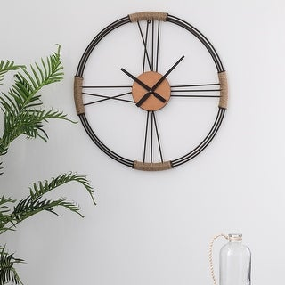 "Link to Glitzhome 26.8""D Farmhouse Metal Wall Clock Similar Items in Decorative Accessories"