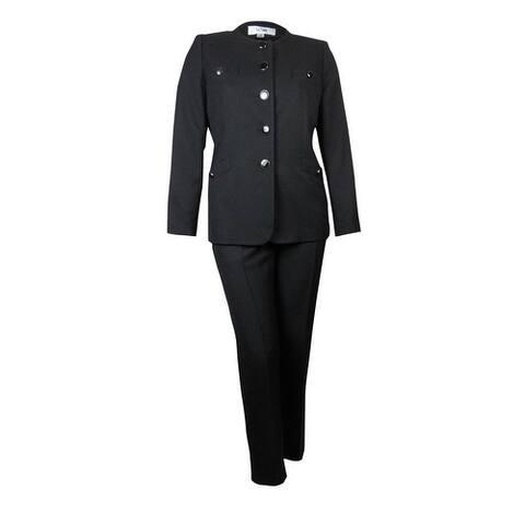 Le Suit Women's Scoop Neck Crepe Tuscany Pant Suit - Black