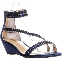 TS35 Tachani Wedge Ankle Strap Zip Up Sandals, Navy