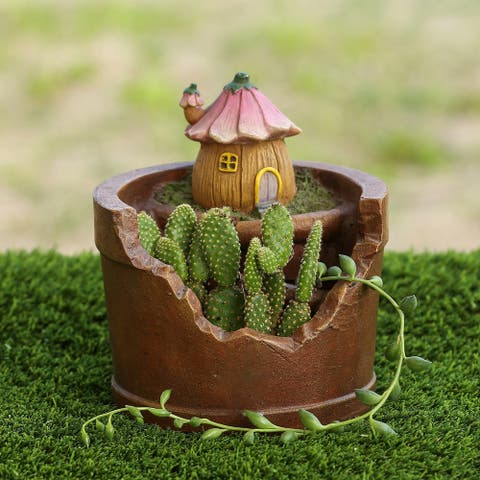 Miniature Fairy Flower House Succulent Resin Planter