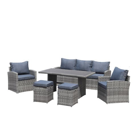 KINWELL 6-Piece Wicker Outdoor Patio Seating Set with Cushions