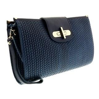 HS1156 BLU CORA Blue Leather Clutch/Shoulder Bag