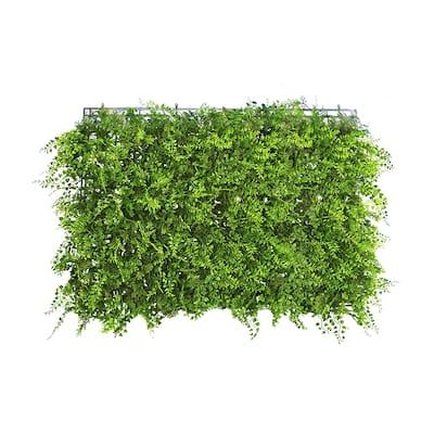 "Set of 4 Fern Ivy Boxwood Mixed Leaf Greenery Wall Panel Hedge Mat Backdrop Privacy Screen - 24"" L x 16"" W x 3.75"" DP"