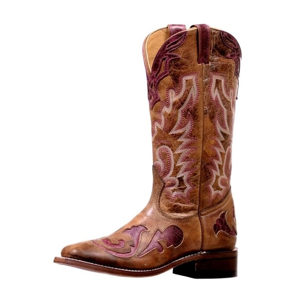 Boulet Western Boots Womens Overlay Stockman Heel Damasko Taupe