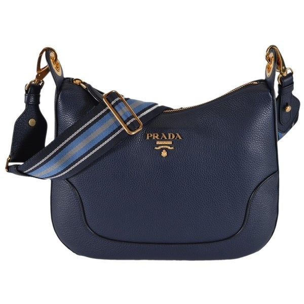 a6298cb89f36 Prada 1BC052 Baltico Soft Leather Daino Stripe Strap Crossbody Purse Bag -  Blue