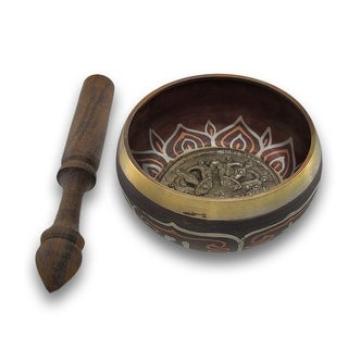Colored Brass Tibetan Meditation Singing Bowl With Wooden Mallet