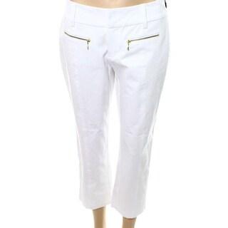 INC NEW White Gold Women's Size 14 Straight Leg Cropped Dress Pants