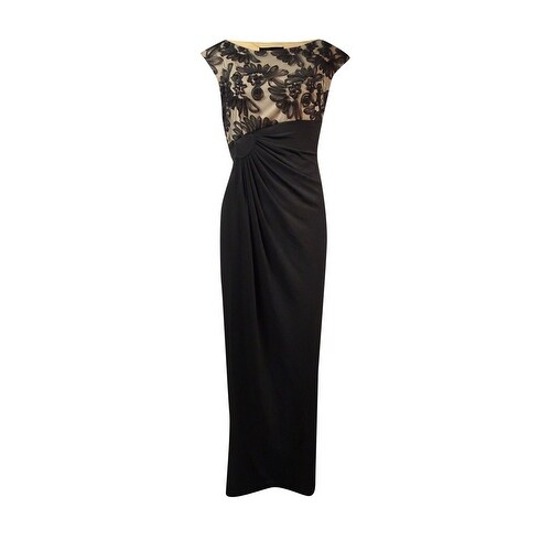 Connected Women's Soutache Mesh Jersey Gown - Black/nude