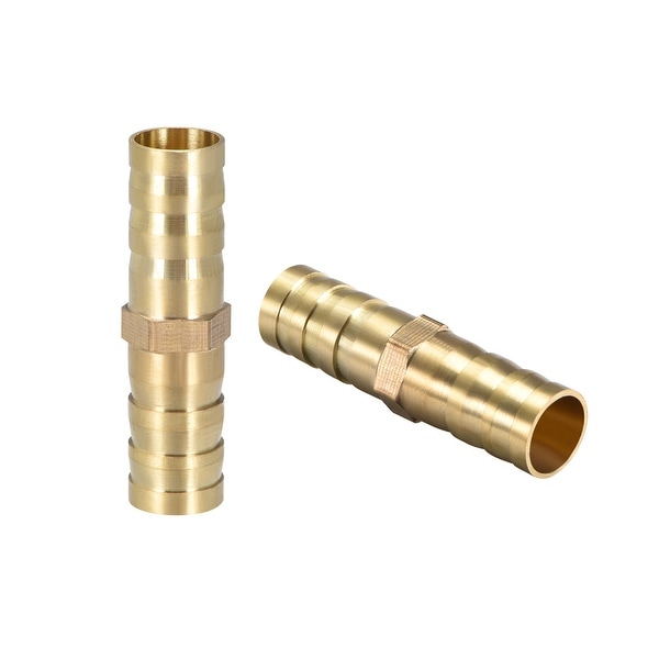 """25/64""""Brass Barb Hose Fitting Straight Connector Joiner Air Water Fuel Boat 2pcs - 10mm 2pcs"""