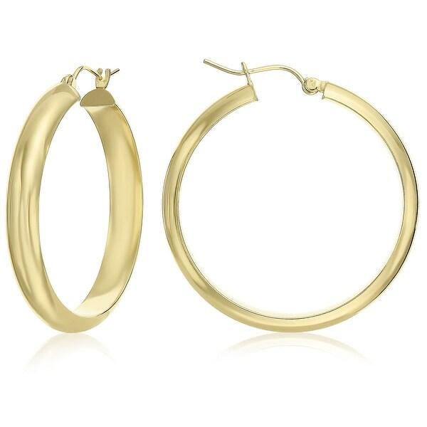 Mcs Jewelry Inc 14 KARAT YELLOW GOLD CLASSIC HOOP EARRINGS HALF ROUND 35MM