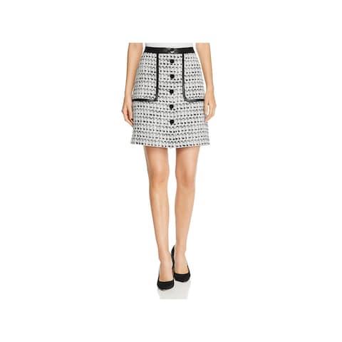 Karl Lagerfeld Womens A-Line Skirt Tweet Front Button