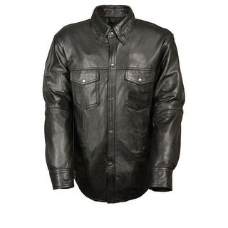 Mens Snap Down Black Leather Shirt (Option: Xxl)