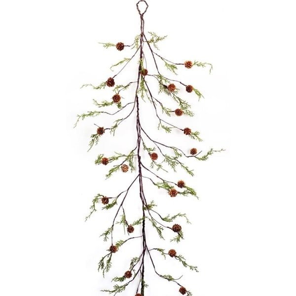Pack of 4 Decorative Plastic Cypress and Pinecones Garland - brown