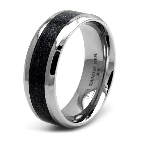 Stainless Steel Sandpaper Inlay Ring