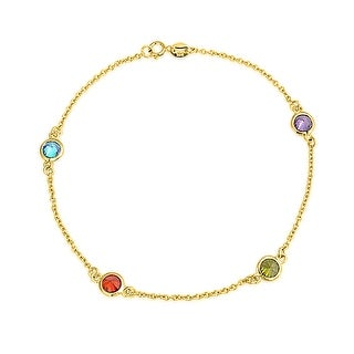 Bling Jewelry Gold Plated 925 Silver Multi Color CZ by the Inch Anklet 9in