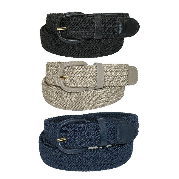 CTM® Men's Elastic Braided Stretch Belt (Pack of 3 Colors)
