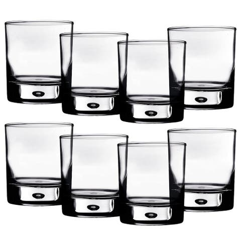 Home Essentials Red Series 10 oz. Bubble-Bottomed Round Cut Drinking Glasses - Set of 8 - Clear - 14 in. x 16 in. x 6 in.