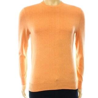 Club Room NEW Orange Melon Men Size Large L Crewneck Silk Jersey Sweater