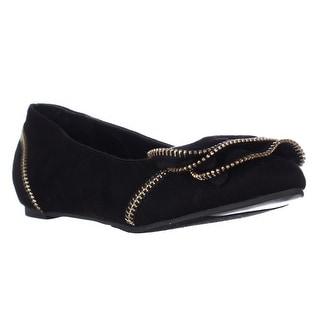 TS35 Feliz Zipper Embellished Flats - Black