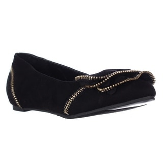 TS35 Feliz Zipper Embellished Flats, Black