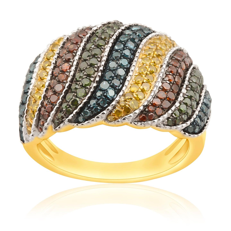 1.05 Carat Round Cut Multi Color Diamond Designer Ring - Thumbnail 0