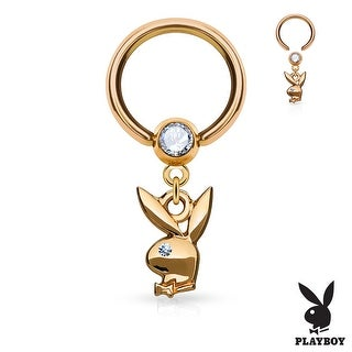 Playboy Bunny Dangle with Crystal Ball Surgical Steel Captive Bead Ring - 16GA (Sold Ind.)