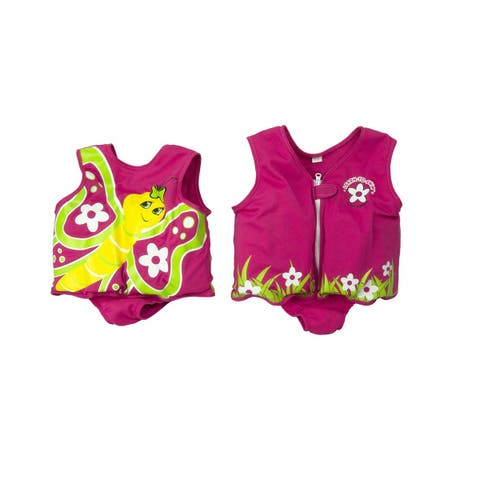 """12.5"""" Pink Intermediate Butterfly with Flowers Swim Vest for children - N/A"""